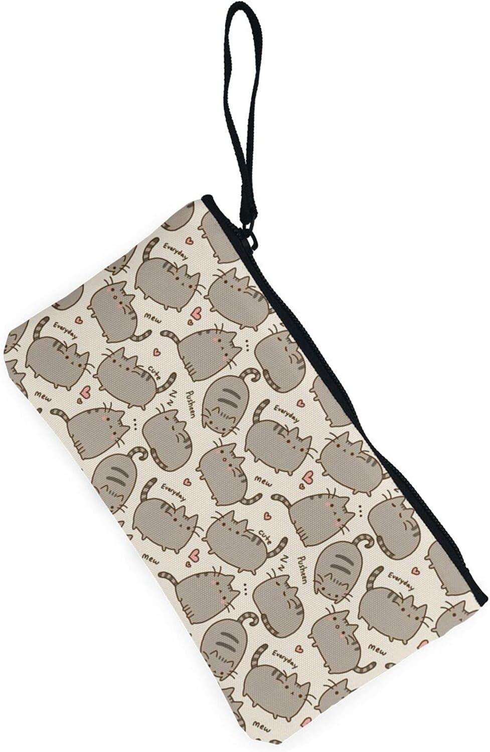 AORRUAM Cute cat pattern Canvas Coin Purse,Canvas Zipper Pencil Cases,Canvas Change Purse Pouch Mini Wallet Coin Bag