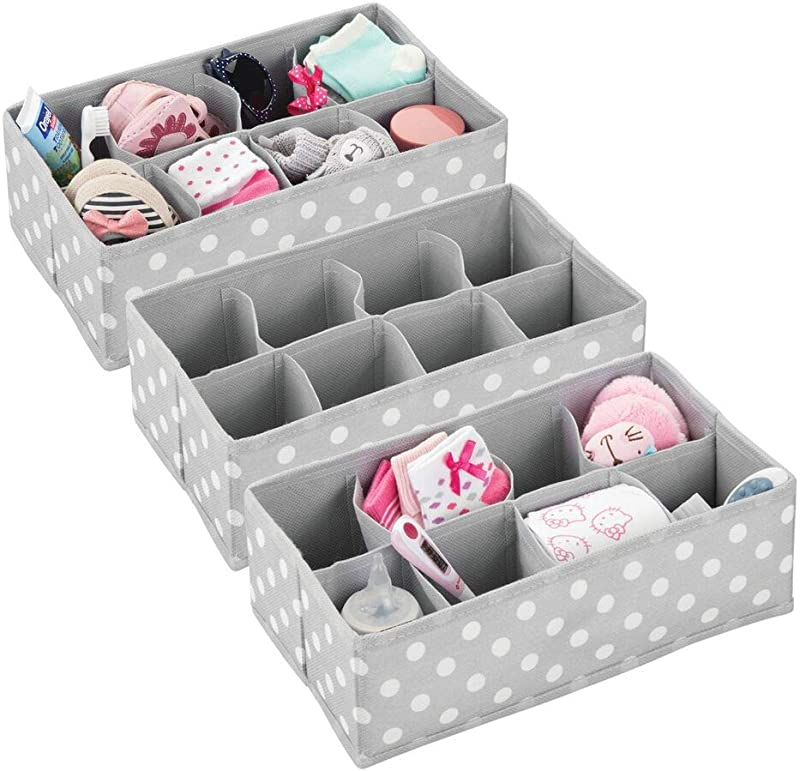 MDesign Soft Fabric Dresser Drawer And Closet Storage Organizer For Child Kids Room Or Nursery 8 Section Rectangular Organizer Fun Polka Dot Print 3 Pack Gray With White Dots