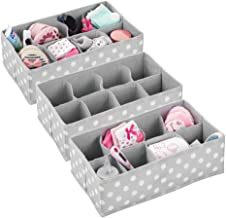 mDesign Soft Fabric Dresser Drawer and Closet Storage Organizer for Child/Kids Room or Nursery - 8 Section Rectangular Organizer - Fun Polka Dot Print Pack of 3 Grey 07609MDB