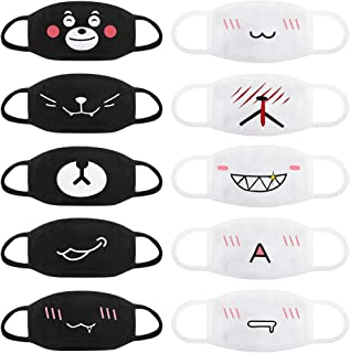 Accmor Fashion Anime Mouth Mask, 10 Pack Cute Unisex Anti-Dust Face Mouth Kawaii Muffle Mask for Kids Teens Men Women, Windproof Motorcycle Face Emoticon Masks for Ski Cycling Camping(Black+ White)