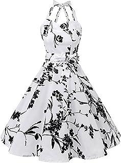 GODTOON ワンピース レディース 女性 ヴィンテージ ノースリーブ ハンギングネック セクシー 印刷 ドレスデート バンドゥ パーティー 2018 New products ビーチウェア