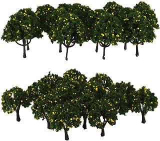 40st gula frukter trädmodell HO Z skala tåg järnväg scen dekor DIY del