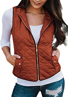 Macondoo Womens Fashion Puffer Cotton-Padded Quilted Sleeveless Down Vest