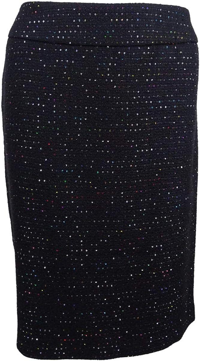 NINE WEST Women's Plus Size Sequin Tweed Slim Skirt