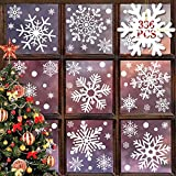 heekpek 336 Piezas Navidad Pegatina Copo de Nieve Pegatinas de Navidad para Ventanas Pegatinas de Invierno Ventana Nieve Reutilizables Pegatinas para Cristales de Ventana para Casa y Escaparate
