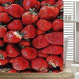 XKSJWY Duschvorhang 3D Rote Frucht Erdbeere Muster Badezimmer Vorhang Anti-Schimmel Wasserdicht Antibakteriell Polyester Shower Curtain Badewanne Vorhang Mit 12 Duschvorhängeringen 180X200Cm