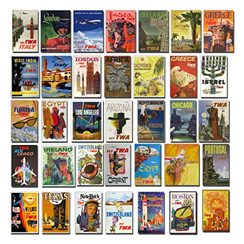 Vintage TWA Trans World Airlines Luggage Labels , Aufkleber - Retro Pack of 35 Suitcase Travel Stickers