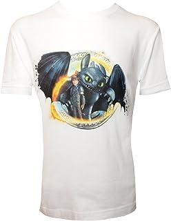 Camiseta para niño con diseño de DreamWorks Cómo Entrenar a tu dragón, HIPO y Desdentado, Blanco