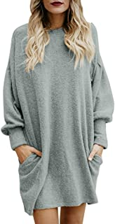 TUSANG Fashion Women Solid O-Neck Pocket Long Sweater Long Sleeve Casual Loose Pullover for Party