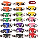 20 Pcs Wrist Band Jingle Bells Instrument Percussion Musical Orchestra Rattles Party Favors Toys Wrist Bells & Ankle Bells KTV Birthday Gifts, Musical Rhythm Toys for Children (10 Colors)