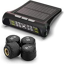 TUTUO TPMS Sistema de Monitoreo de Presión de Neumáticos Universal Energía Solar LCD Monitor Tiempo Real Medidor de Presión y Temperatura de los Neumáticos con 4 Sensores Externos