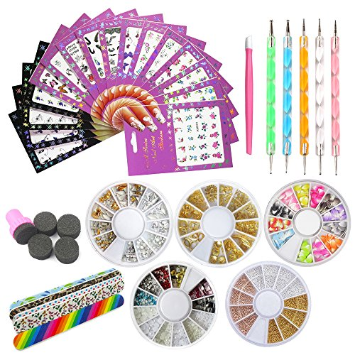 Nail Art Tools Decoration Manicure Pedicure Tool Set Kit 16Pcs Nail Stickers, 5 Boxes Nail Beads Rhinestones Stone Gold Metal Studs,5 Nail File Sticks,5 Nail Dotting Pen,Nail Stamping Sponge Pusher