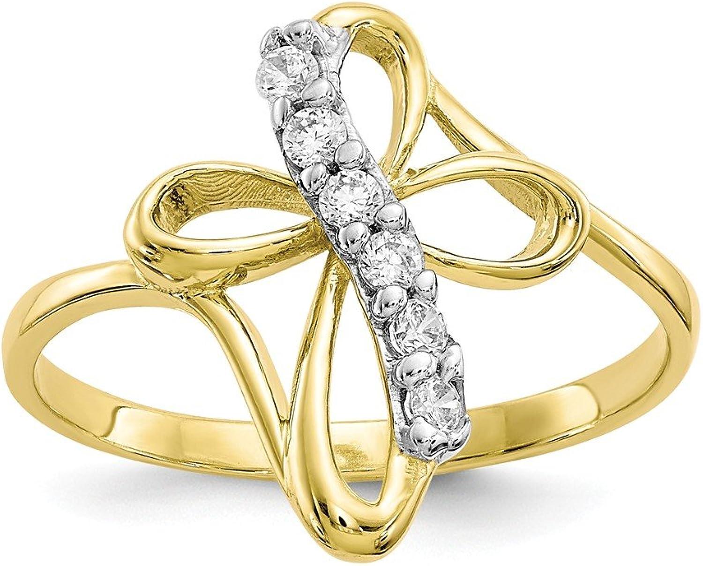 Beautiful Yellow gold 10K Yellowgold 10k CZ Cross Ring