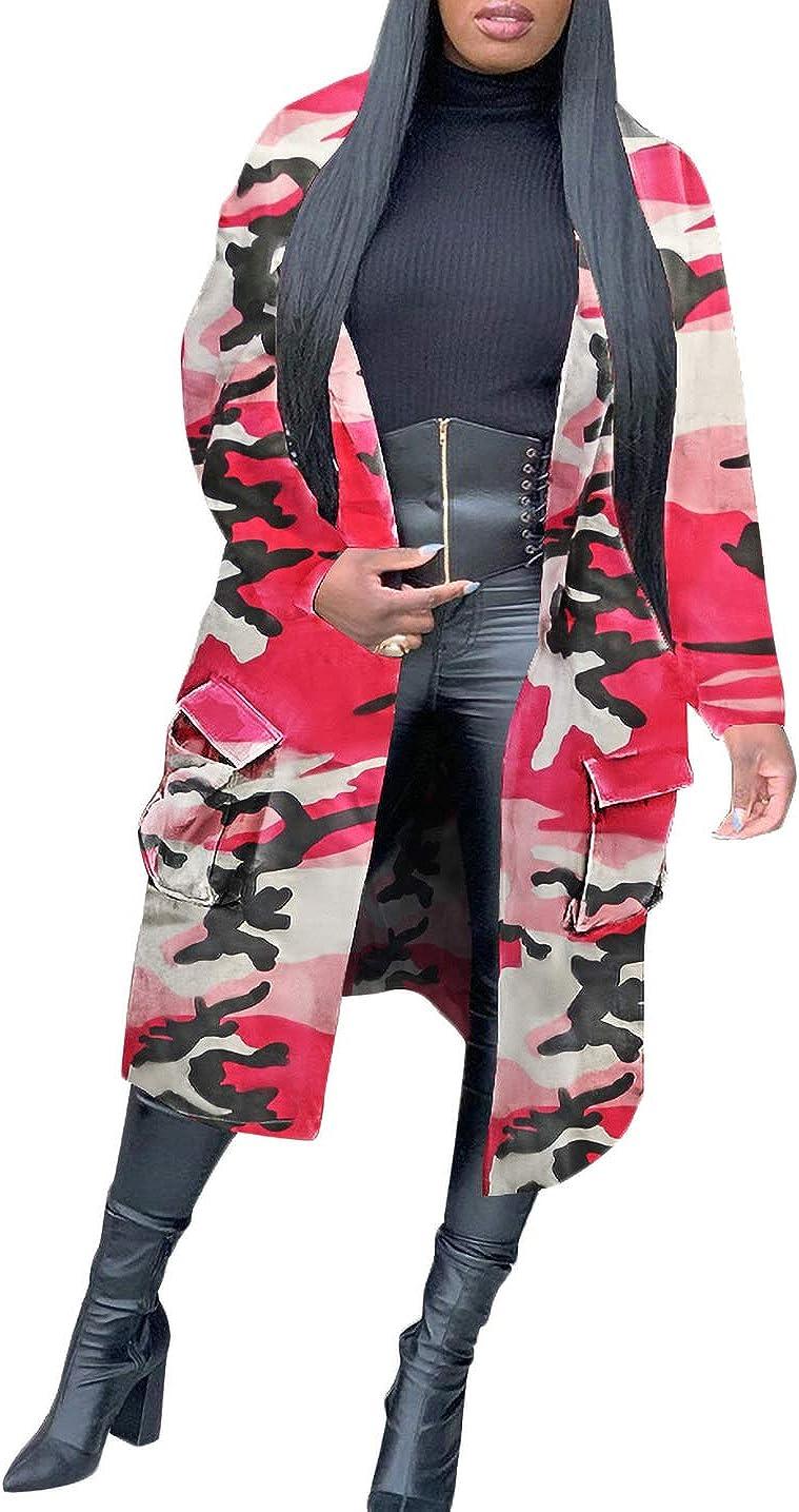 DINGANG Women Camouflage Jackets Casual Trench Coats Lapel Winter Long Sleeve Camo Coats Outerwear Mid-Length Windbreaker