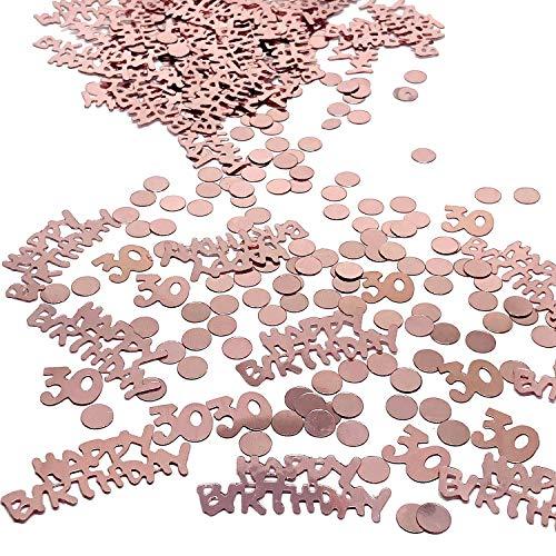 YouU Buon Compleanno Coriandoli Glitter in Oro Rosa Coriandoli Tavolo Stella Circolare per Decorazioni di Festa di Compleanno 35g/700pcs (Oro rosa/30 Anni)