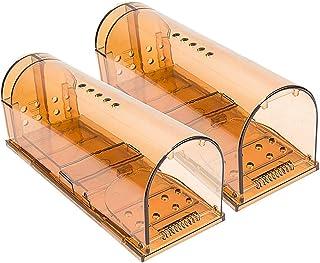 Guoc Products Trampa para Ratones Vivos,Ratonera con Cebo,Pack de 2,Jaula,Fácil de Usar,Multicaptura,Automática,Humano,Sin Muerte,Mouse Trap,Marrón