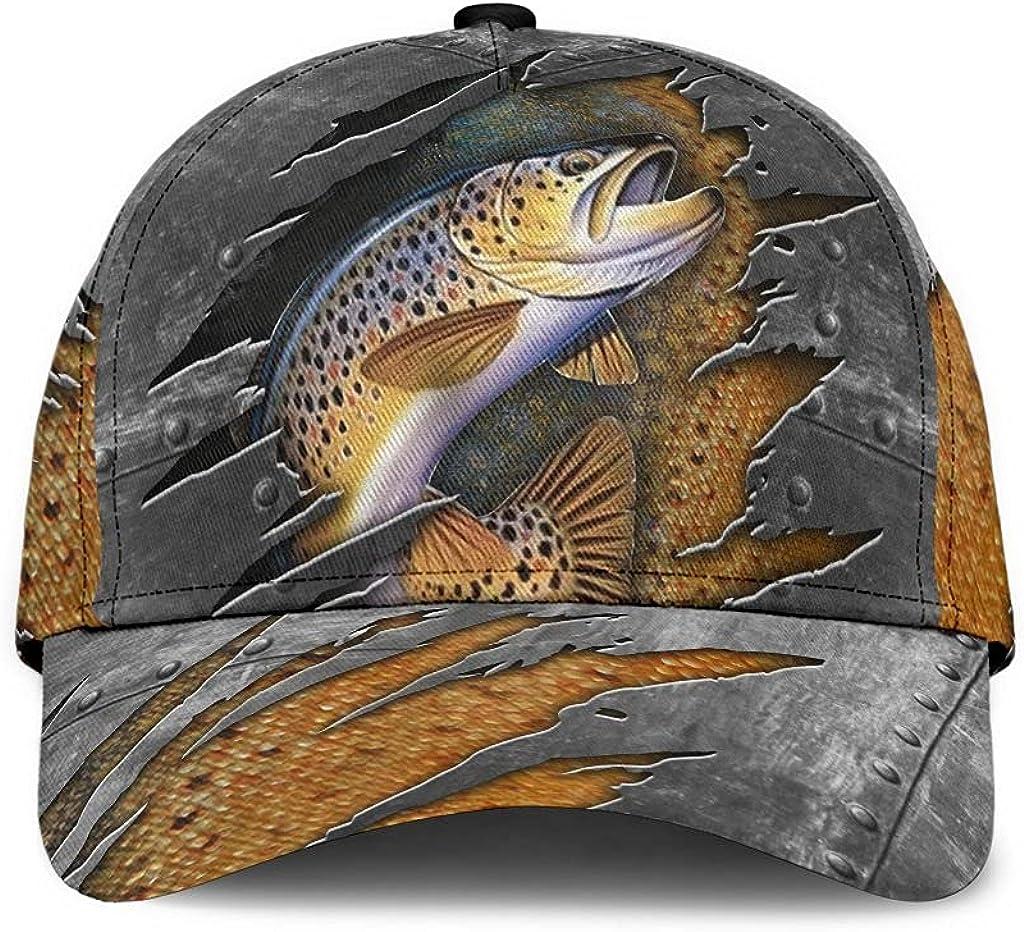 Fishing Classic Cap Print Fish Cap 4 Classic Cap 3D Baseball Cap for Men Cap for Women with Adjustable Strap Sports Soft Caps Outdoor