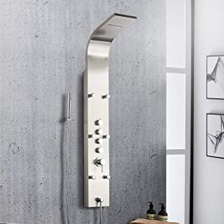 Shower Panel BATH MASTER 61'' Rainfall Waterfall Tower System 6 Body Message Jets Stainless Steel Bathroom Wall Mount Shower Set With Multi-function Hand Held Shower Head, Brushed Nickel Finish