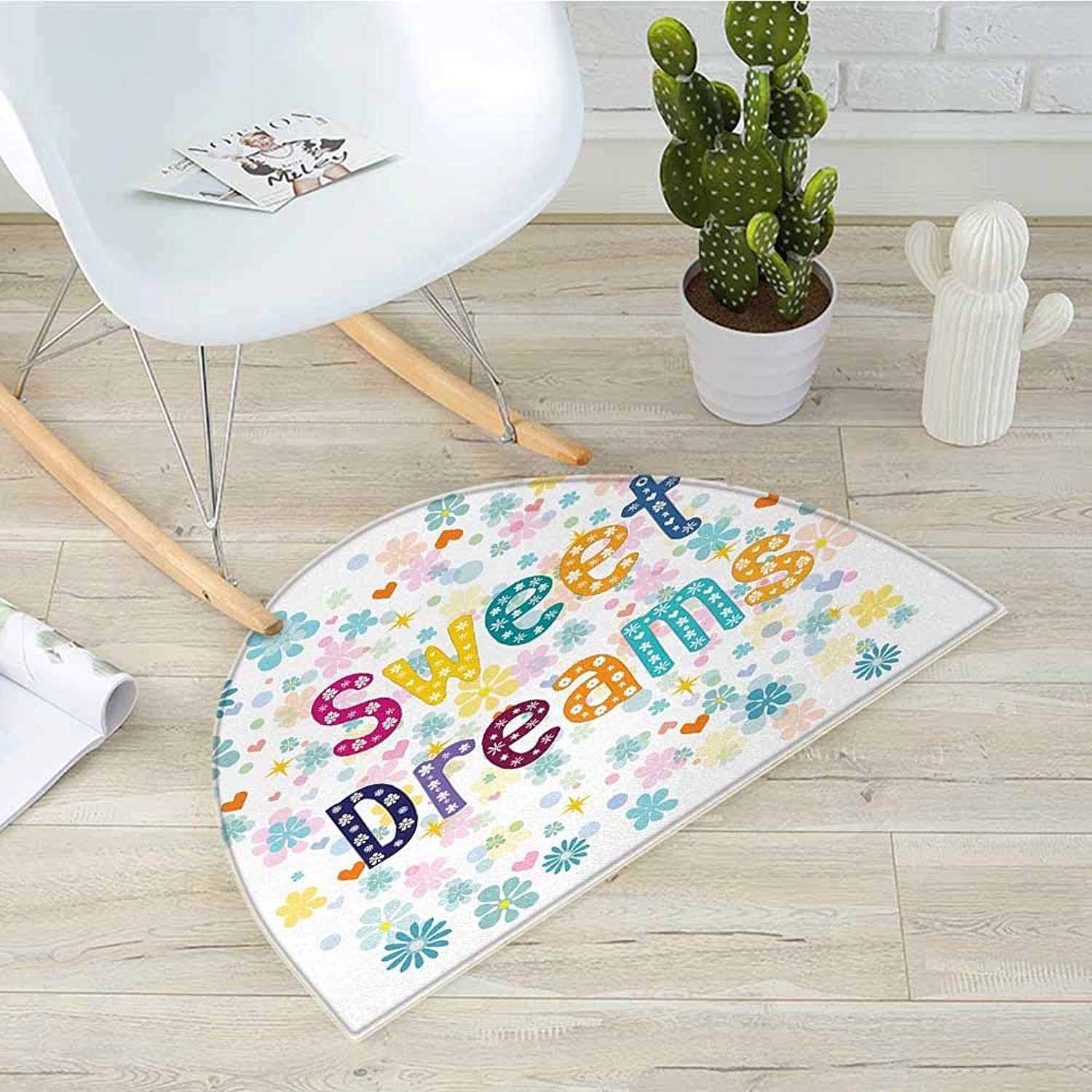 Sweet Dreams Half Round Door mats colorful Letters with Little Flowers on a Blossoming Background Slumber Party Bathroom Mat H 31.5  xD 47.2  Multicolor