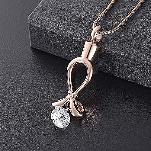 OPPJB Jewelry Gift For Womencollar Never Fade Rose Cinta De Diamantes De Imitación Grande De Acero Inoxidable Corazón Cremación Recuerdo Memorial Ash Urn Colgante-B