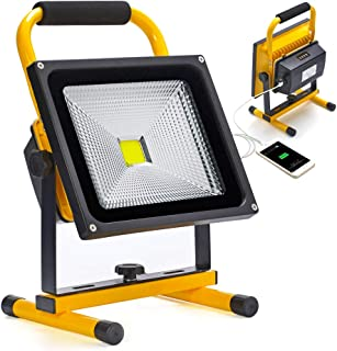 20W LED Work Light Portable Rechargeable Battery Operated Dimmable Camping Lights with Power Indicator for Outdoor Lighting,IP65 Waterproof,Flood Light