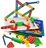 Skoolzy Educational Preschool Building Toys. 97pc Kids Construction Engineering Tool Set. Learning Tinker STEM Toys for Boys & Girls Nuts & Bolts Blocks for Kids