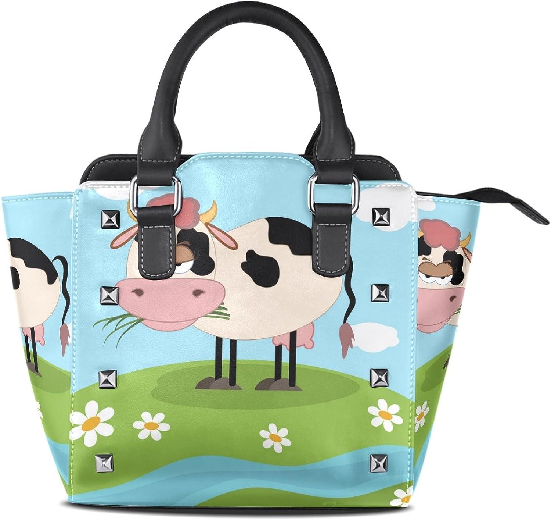 My Little Nest Women's Top Handle Satchel Handbag Sad Cow On The Meadow Ladies PU Leather Shoulder Bag Crossbody Bag