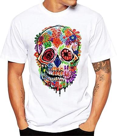 Gusspower Blusa de Los Hombres, Camiseta de Manga Corta para Hombre con Estampado de Calaveras Camiseta Camiseta Blusa Tops