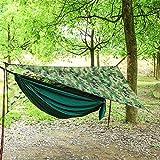 Hamaca Que acampa Portable con Mosquitera Y Lluvia Lona Fly Set Tienda del pabellón oscilación Que acampa al Aire Libre de Mosquitos Cama Impermeable Camou Dark Green