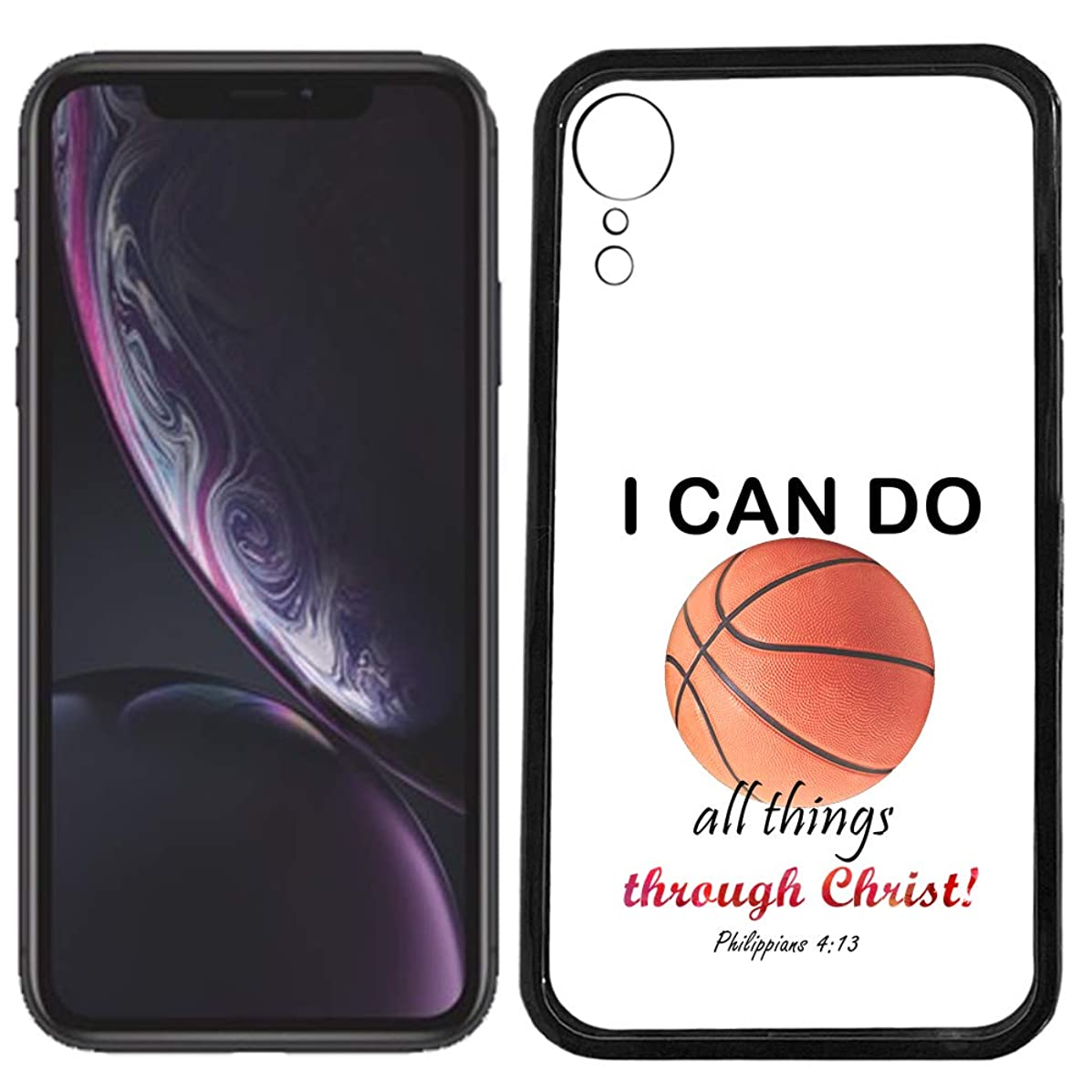 SunCases Soft TPU Bumper Case for iPhone XR - Basketball I Can do All Things Through Hard Clear Transparent Anti Scratch Resistance with Full Protection Cover