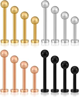 PiercingJ 8-16pcs 316L Stainless Steel Mixed 6-12mm Bar 16G Labret Monroe Lip Rings Cartilage Helix Tragus Nose Piercing 3mm Ball Straight Barbell Body Piercing Jewelry