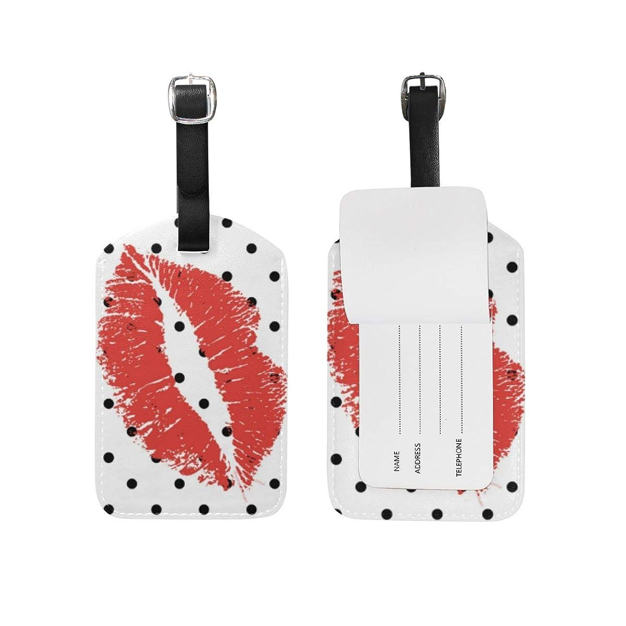 松おばさんアジアブラックホワイトポルカドットリップス レザー 荷物 タグ トラベル カード バッグ ID ラベル (2個)