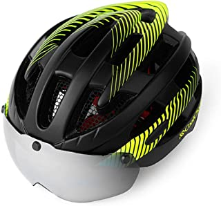 ZGYQGOO Cycle Bike Helmet with Detachable Magnetic Goggles Visor Shield for Women Men with Reflective Stripe Adult Cycling Bike Helmet Specialized