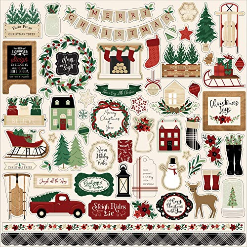 Echo Park Paper Company A Cozy Christmas Element sticker, red, green, black, tan, woodgrain
