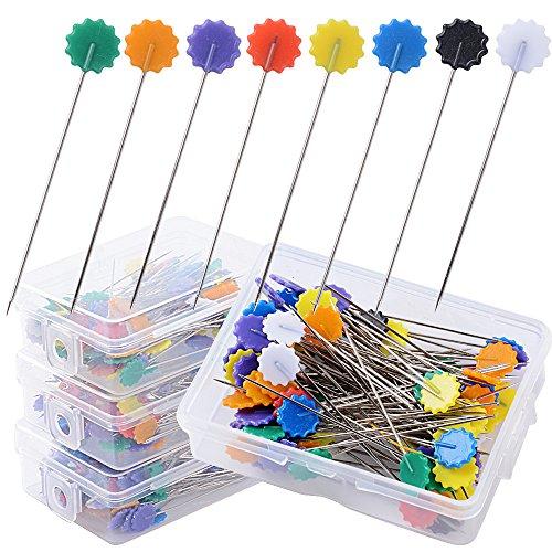 400pcs Alfileres de Costura de Cabeza Plana forma Flor Agujas Colores para Acolchado Costura Tejer Coser (4 Cajas*100pcs)