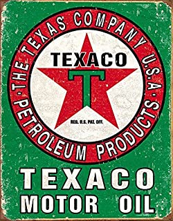 Forever_USA Texaco Motor Oil | Decorative Tin Sign Garage Room Home Decor Style | 12 x 8 inches | Vintage Retro Man Cave Sign Style