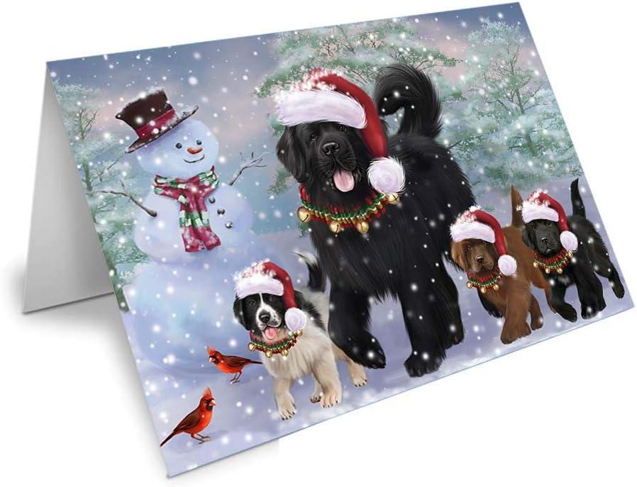 Christmas Running Max 56% OFF Family Newfoundlands Regular discount GCD7144 Card Dog Greeting