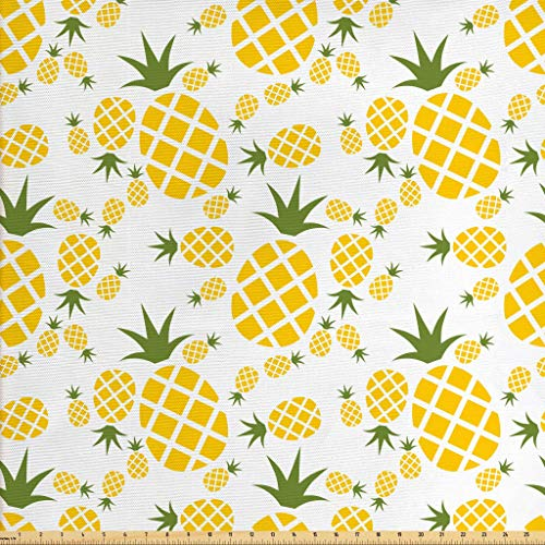 Lunarable Pineapple Fabric by The Yard, Pineapple in Pictogram Design Vintage Style Pattern Farm Vibrant Color, Decorative Fabric for Upholstery and Home Accents, 1 Yard, Green Olive