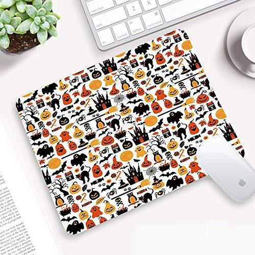 Comodo Tappetino per Mouse,Halloween, Collezione di Icone di Halloween Caramelle Gufi Castelli Fantasmi 31 Ottobre Tema,Superficie Liscio, Base in Gomma Antiscivolo per PC, Laptop e Notebook 25x32 cm