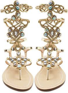 Women's Rhinestone Sandals, Gold Silver Gladiator Sandals, Summer Flat Dress Sandals, Beach, Wedding, Banquet