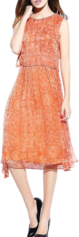 CDCLOTH Women's Lady Temperament Print Mulberry Silk Sleeveless Vest Long Dress