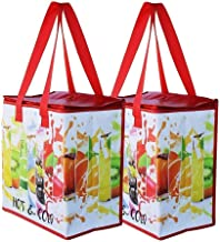 Earthwise Insulated Reusable Grocery Bag Shopping Tote with Zipper Top Lid Durable Thermal Collapsible Catering 2 Pack (Fr...
