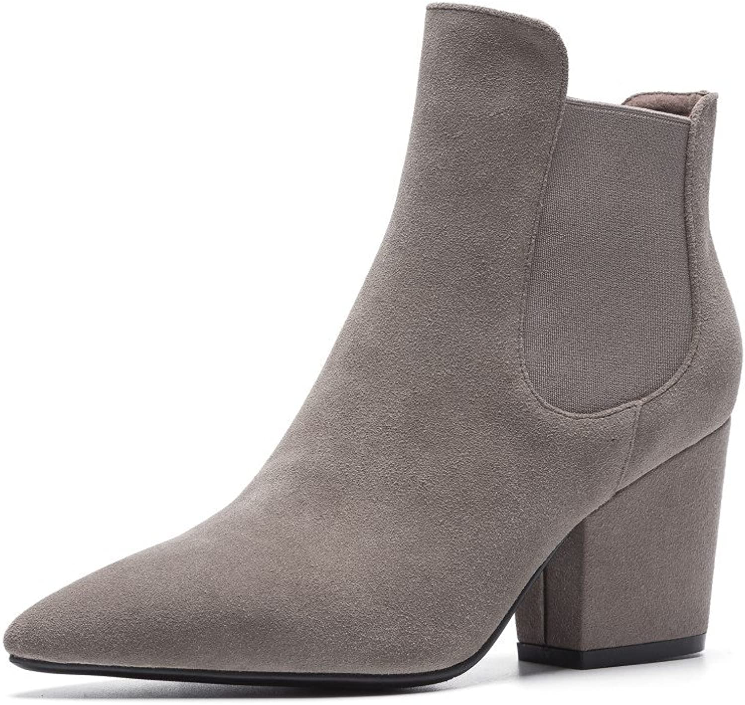 Nine Seven Genuine Leather Women's Pointed Toe High Chunky Heel Slip On Handmade Graceful Ankle Boots