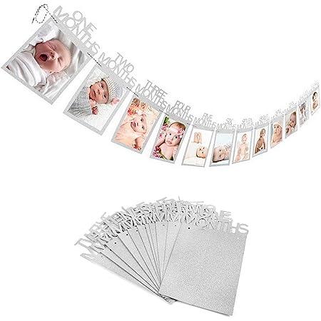 12 mois bébé 1st première année cadre photo Bannière Pailleté papier Garland Anniversaire