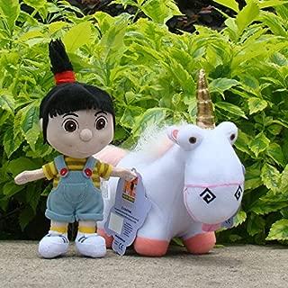 2Pcs Despicable Me Plush Toy Fluffy Unicorn & Cute Agnes Stuffed Animal Doll