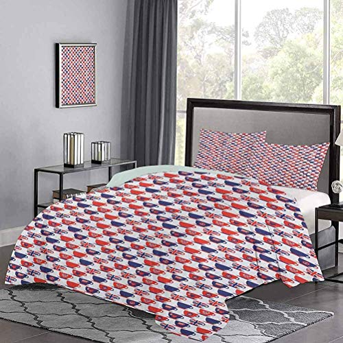Duvet Cover Set Tea Party Theme Flag Pattern Cups Traditional Drink Independence Day Premium Quilt Cover So Adorable and Versatile Navy Blue Vermilion White
