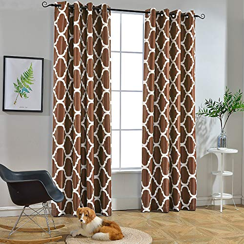 Melodieux Moroccan Fashion Room Darkening Blackout Grommet Top Curtains for Living Room, 52 by 84 Inch, Coffee (1 Panel)
