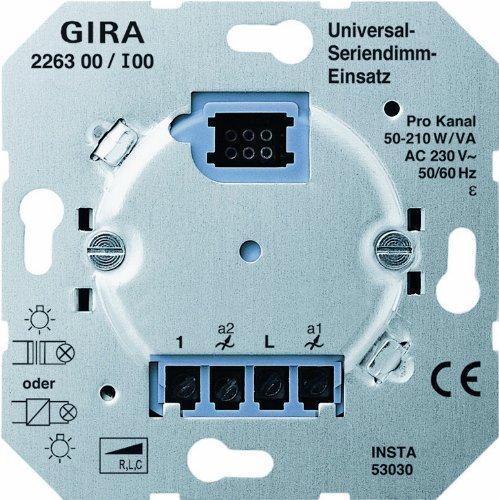 Gira 226300 Dimmer Serien Universal 2x50 Einsatz, 260 W