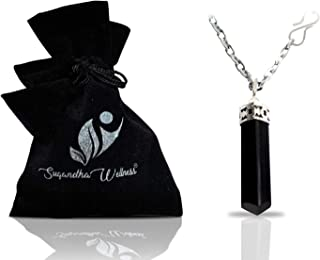Natural Black Tourmaline Crystal Healing Necklace - for Root Chakra | Dispels Negative Energy | Guard Against Environmental Pollutants | Natural Stress Aid | Comes with Stylish Stainless Steel Chain