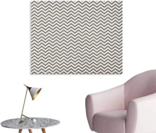 Anzhutwelve Chevron Wallpaper Grey and White Zig Zag Lined Striped Pattern Modern Design Artistic Print Poster Paper Warm Taupe White W48 xL32